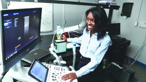 Muyinatu Bell works in her research lab at Johns Hopkins University
