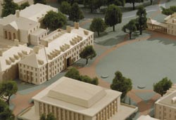 Housing centers for research in robotics, computer-integrated surgery, and computational medicine, the two-story Computational Sciences and Engineering (CSE) Building (artist's rendering above and architectural model at left) is being built across from Clark Hall on the Decker Quadrangle, now under construction.