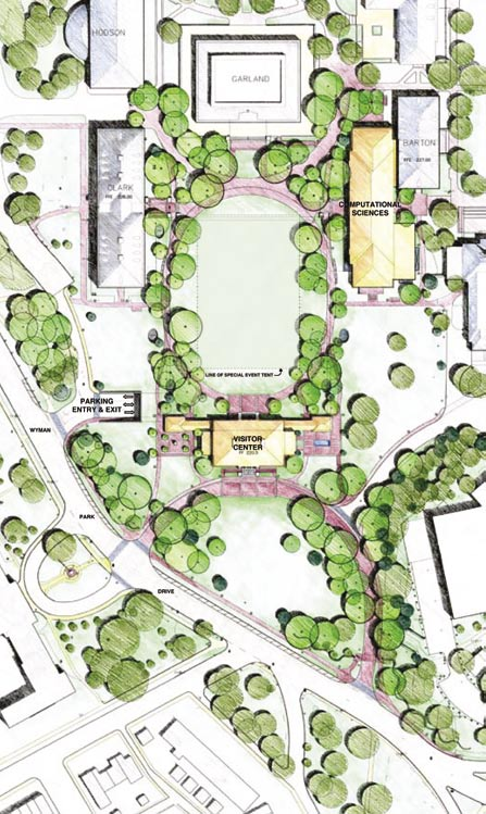 This artist's rendering of the Decker Quadrangle project shows the lawn for recreation and events, the Computational Sciences and Engineering (CSE) Building on the right, the Visitor Center across from Garland Hall, and the entrance to the underground parking garage on the left. The CSE Building will connect with Barton Hall and features a walk-through to the Decker Quadrangle. The Whiting- Turner Contracting Company is managing the construction. The architects are with the Boston firm of Shepley, Bulfinch, Richardson and Abbott, assisted by Baltimore engineers James Posey Associates, RKK Engineers, and Morabito Consultants.