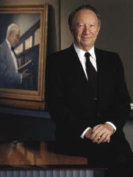 Only two individuals have led The Whiting-Turner Contracting Company in its 96 years: Willard Hackerman '38 and his mentor, G.W.C. Whiting (in the portrait), who died in 1974. Hackerman, to whom Johns Hopkins awarded an honorary degree in 1990, led the 1979 effort to re-establish the School of Engineering. The G.W.C. Whiting School of Engineering became the first Hopkins division named to honor an individual.
