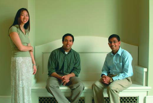 (From left) Carolyn Williams '03, Ravi Kavasery '03, and Manish Gala '03 excelled in the classroom and in their diverse extracurricular activities.