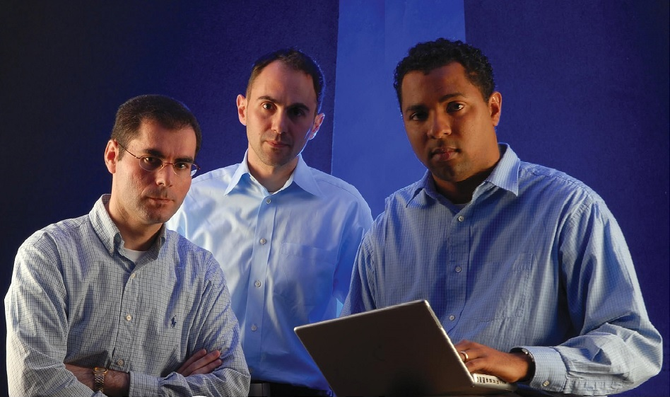 """Left to right, Department of Computer Science """"Bot Busters"""": Moheeb Rajab, graduate student; Andreas Terzis, assistant professor; and Fabian Monrose, assistant professor."""