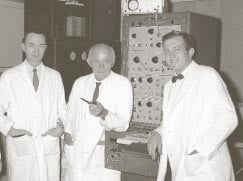 (From left) James R. Jude, MD; Kouwenhoven; and Guy Knickerbocker '54 '71 PhD in a photo from 1958, the year in which their team discovered a combination of procedures to resuscitate patients in cardiac arrest; they called it CPR.