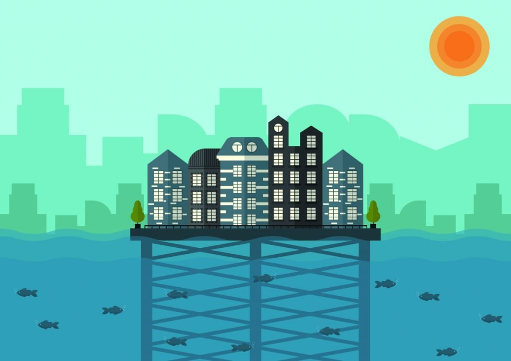 Illustration of city floating on water
