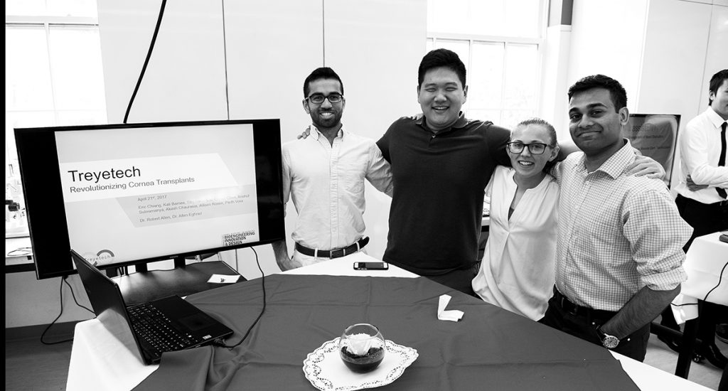 Left to right: Anshul Subramanya, Eric Chiang, Allison Rosen, and Parth Vora.