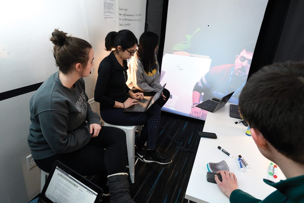 Johns Hopkins students discuss design ideas with their counterparts in the Middle East via a real-time communication portal