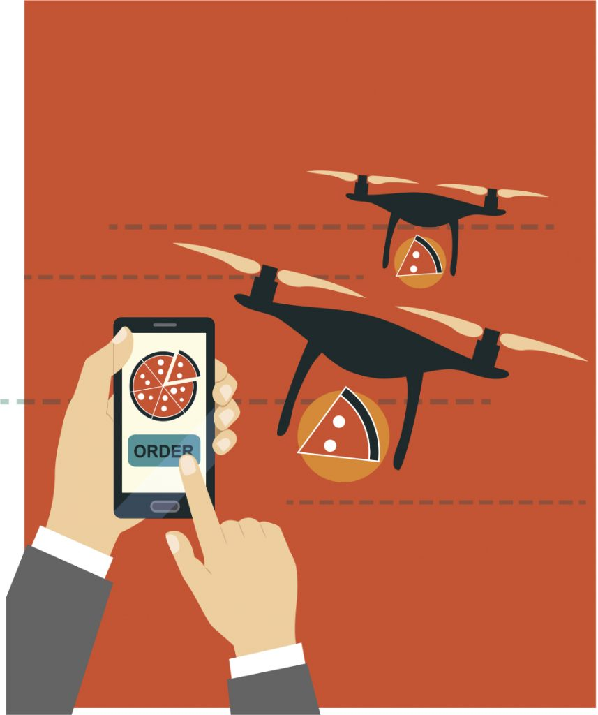 Illustration of a pizza-delivering drone