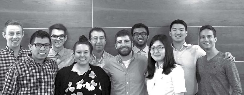 Front (left to right): Fernando Vicente, Candice Gard, Jon Hochstein, Jung Min Lee. Back (left to right): John Hickey (chemical assay adviser), Nolan Benner, Douglas Mogul (mentor), Rohith Bhethanabotla, Burton Ye, Gabriel Fernandes.