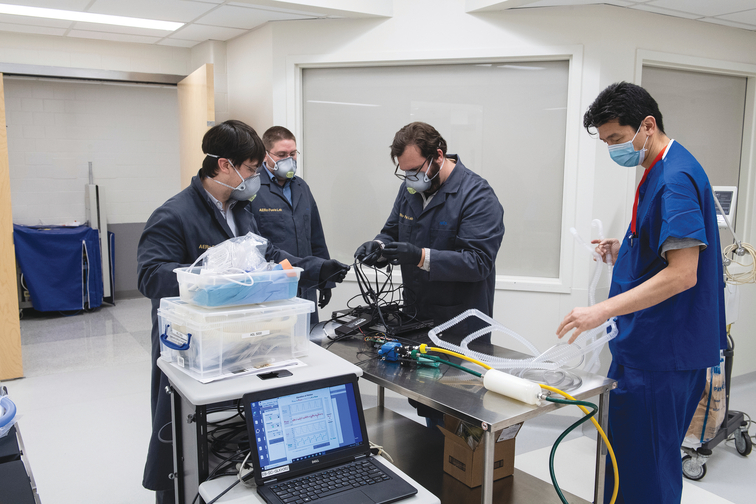 Nick Keim and Johns Hopkins researchers test a pumpless ventilator