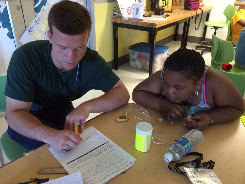Barclay students worked with JHU undergrads during Inventors Camp, 2016.