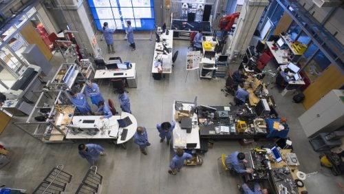 Researchers work in the robotorium in Hackerman Hall