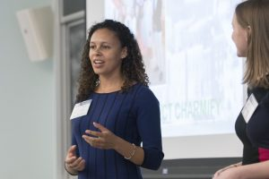 A student pitches a business idea at the JHU Business Plan Competition